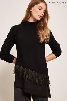 Mint Velvet Black Feather Asymmetric Knit