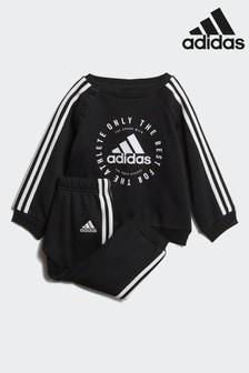 adidas Gym Black Fleece 3 Stripe Jogger Set