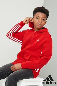 adidas Red 3 Stripe Zip Through Hoody