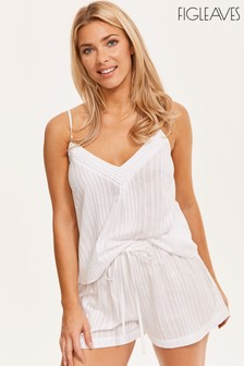 Figleaves White Cotton Stripe Pintuck Cami And Short Set