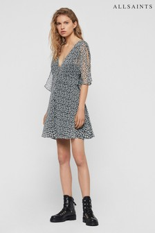 AllSaints Grey Floral Scattered Ivy Dress