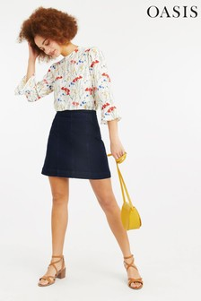 Oasis Blue Angle Pocket Mini Skirt