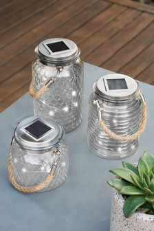 Set of 3 LED Solar Glass Lanterns