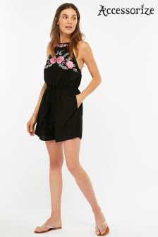 Accessorize Black Embroidered Top Playsuit