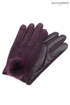 Accessorize Red Faux Fur Pom Suede Glove