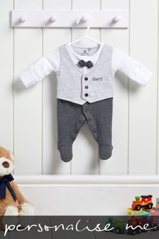 Personalised Suit And Tie Sleepsuit