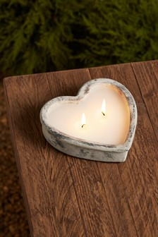 Heart Shaped Stone Effect Candle