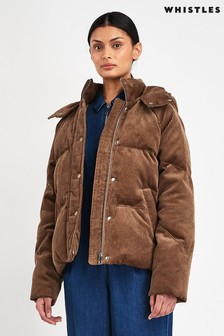 Whistles Brown Casey Corduroy Padded Jacket