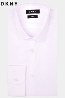 Cămașă DKNY slim fit albă cu manșetă simplă din material stretch