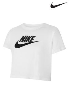 Nike White Futura Cropped T-Shirt