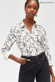 Warehouse Black Horse Print Shirt