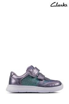 Clarks Lilac Leather Ath Sonar Trainers