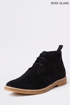 River Island Black Leather Lace-Up Desert Boot