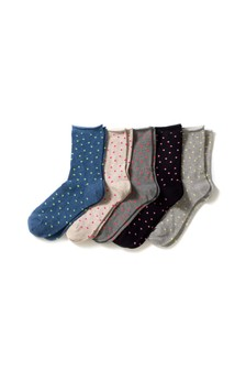 Neon Spot Ankle Socks Five Pack