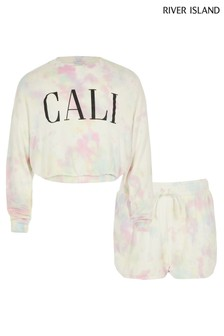 Ensemble River Island Cali rose tie-dye en molleton