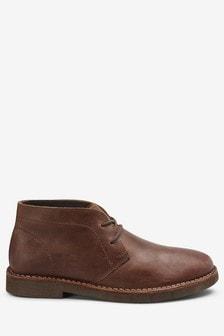 Кожаные ботинки-дезерты на тяжелой подошве