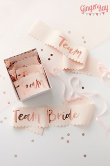Pack de 6 bandas con texto Team Bride