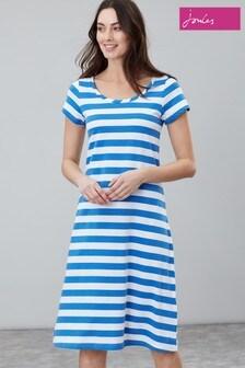 Joules Rayma Kurzärmeliges, ausgestelltes Kleid, Blau