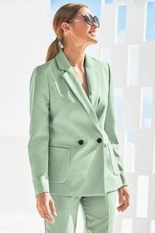 Двубортный костюмный пиджак свободного кроя