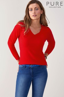 Pure Collection Red Cashmere Original Fit V-Neck Sweater