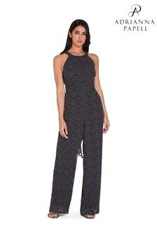 Adrianna Papell Black Chiffon Dot Print Jumpsuit