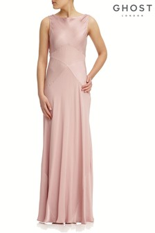 Różowa satynowa sukienka maxi Taylor Boudoir marki Ghost London