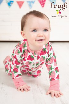 Frugi White Organic Strawberry Babygrow With Turn Back Scratch Mitt