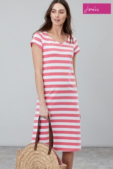 Joules Pink Rayma Short Sleeve Swing Dress