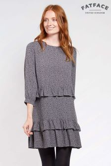 FatFace Pewter Lowri Speckle Ruffle Dress