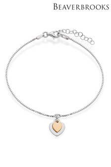 Beaverbrooks Sterling Silver Double Heart Bracelet