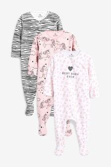 Unicorn/Animal Print Sleepsuits Three Pack (0mths-2yrs)