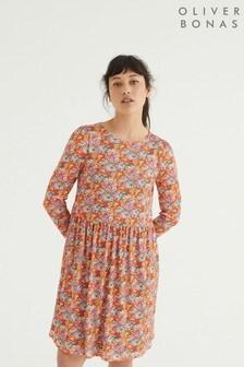 Oliver Bonas Red Floral Print Mesh Mini Dress