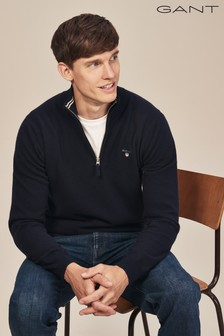 GANT Navy Super Fine Lambswool Half Zip Knit Jumper