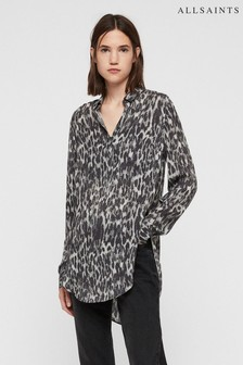All Saints Grey Leopard Keri Tunic Blouse