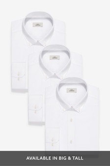 Slim Fit Single Cuff Shirts Three Pack