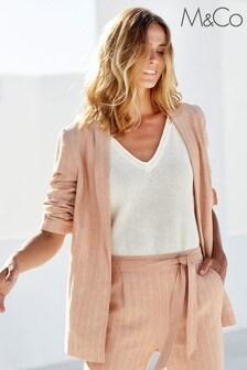M&Co Pink Striped Linen Blazer