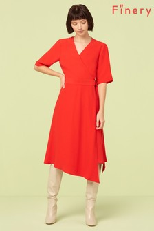 Finery London Red Hettie Asymmetric Wrap Dress