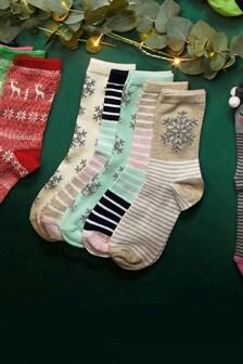 Stripe Snowflake Socks Five Pack