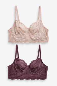 Georgie Non Padded Lace Full Cup Longline Bras Two Pack