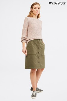 White Stuff Green Manhattan Twill Skirt