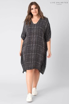 Live Unlimited Black Check Kaftan Dress