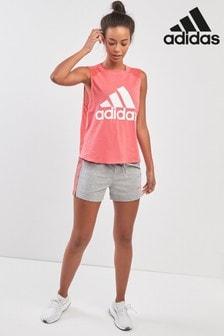adidas Shorts mit 3 Streifen, grau/pink