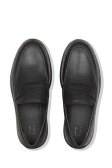 FitFlop™ Black Dexter Penny Leather Loafer