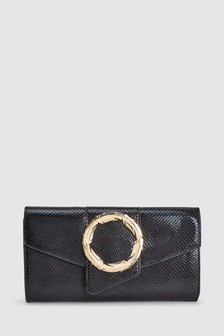 Feather Detail Hardware Buckle Clutch