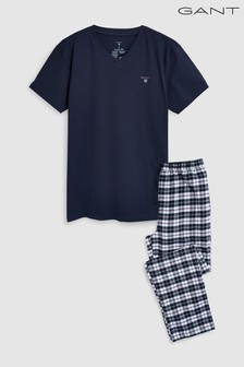 GANT Navy Flannel Pyjama Pants And T-Shirt Set In Gift Box