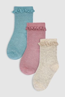 Sparkle Ruffle Socks Three Pack (Younger)