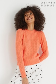 Oliver Bonas Coral Pointelle Stitch Knitted Jumper