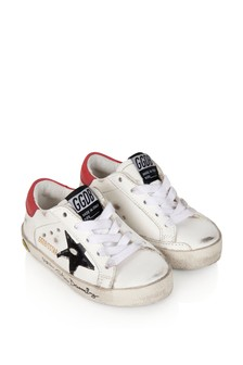 Kids White Leather Signature Foxing Superstar Trainers