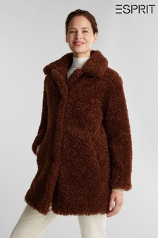 Esprit Brown Faux Fur Coat