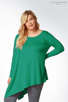 Live Unlimited Green Jersey Asymmetric Poncho Top